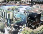 هنرمند فرانسوی با نقاشی های سه بعدی تماشاچیان را به دنیای خیالی برد