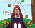 اگر نیوتن هم موبایل داشت ! ( کاریکاتور )