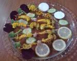 کباب میگو و سبزیجات