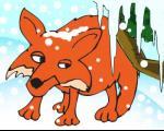 روباه، در یک روز برفی