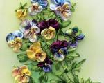 دوخت گل بنفشه با روبان به روش دیگر