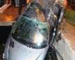 سقوط يك خودرو در كانال اتوبان امامعلي