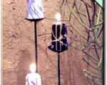 تزئین روی بدنه شمع با پارافین رنگی