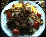 پلو گوشت با کباب تابه ای مرغ