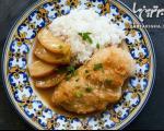 خوراک مرغ و سیب با سس خردل و عسل