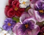 آموزش دوخت گل بنفشه روبان دوزی