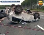حرکت شرم آور زن روسی،پس از تصادف*عکس