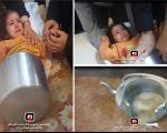 کودک بازیگوش پس از گیرکردن در کتری توسط آتشنشانان نجات یافت