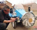 اتومبیل دست ساز کشاورز چینی با باد شارژ می شود