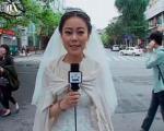 تصویر بهترین عروس دنیا؛ خبرنگاری که با لباس عروسی از زلزله گزارش داد