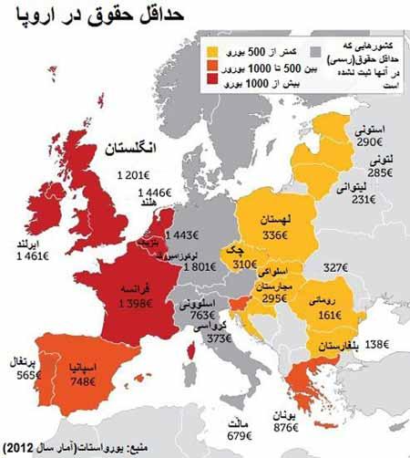 حداقل حقوق دریافتی,حقوق دریافتی در اروپا,اخبارآاخبار اقتصادی