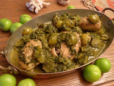 پخت خورش گوجه سبز,طرز درست کردن خورش آلوچه سبز و مرغ