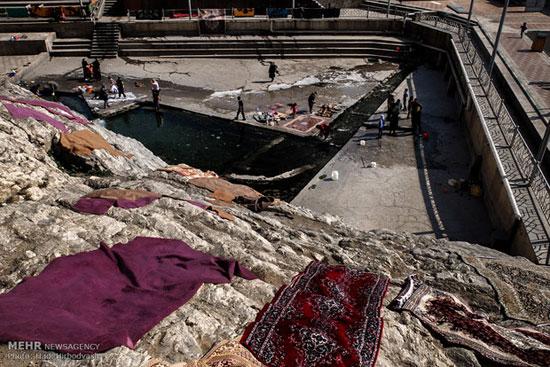 شستشوی فرش در چشمه علی