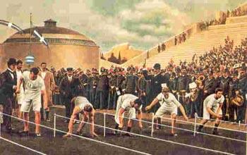 بازي هاي المپيك 1896 به اين صورت با مسابقه دو صدمتر آغاز شد