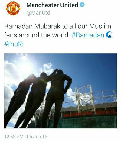 باشگاه منچستر یونایتد ماه رمضان را تبریک گفت