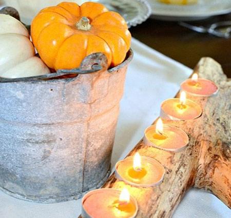 گلدانی از شاخه های خشک و میوه های کاج,درست کردن جا شمعی با شاخه های خشکیده
