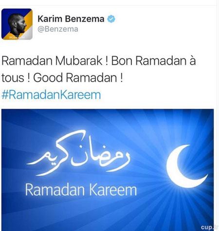 تبریک بنزما بابت فرارسیدن ماه رمضان