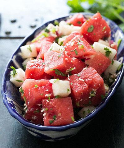 طرز تهیه سالاد میوه های تابستانی,طرز تهیه سالاد با هندوانه