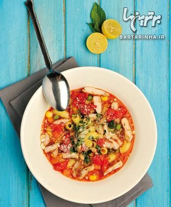 سوپ مرغابی و گوجهفرنگی ایتالیایی