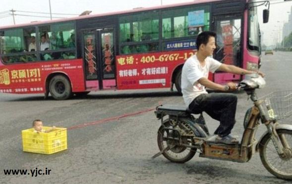 کشیدن کودک با موتور توسط پدر شجاع