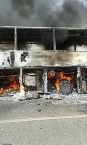 اخبار,اخبار حوادث,آتش سوزی اتوبوس ولوو