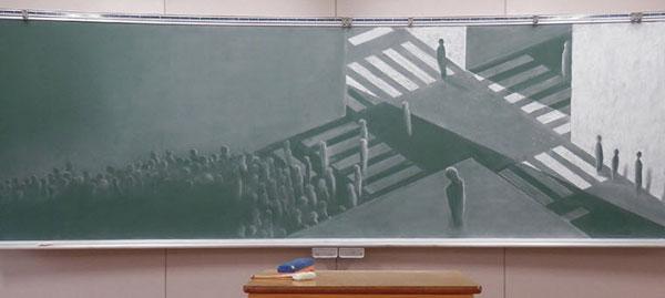 هنرنمایی دانشآموزان ژاپنی با گچ و تختهسیاه