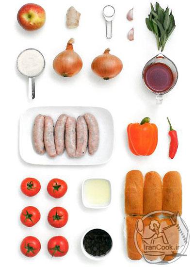 هات داگ با گوجه، مریم گلی و چاشنی پیاز