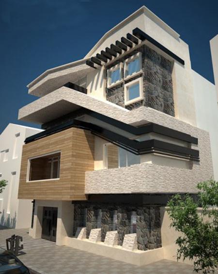 نمای ساختمان مسکونی مدرن,نورپردازی نمای ساختمان مسکونی,نمای ساختمان مسکونی