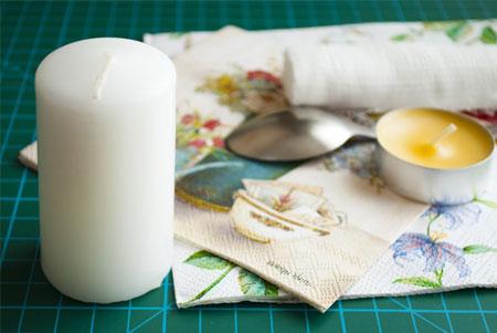 آموزش دکوپاژ روی شمع,تزیین شمع هفت سین