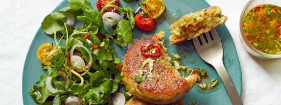 کتلت کدو با پنیر کبابی و سبزیجات