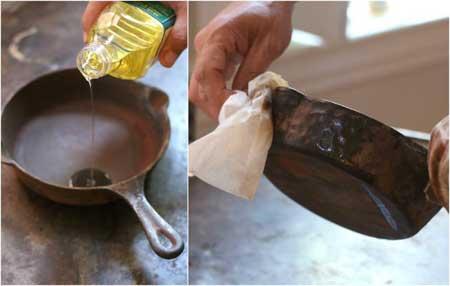 تعمیر خانگی ظروف چدنی, نو کردن ظروف چدنی قدیمی